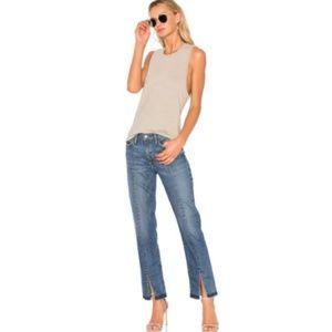Frame Denim Le Nouveau Straight Split Raw Hem Jean